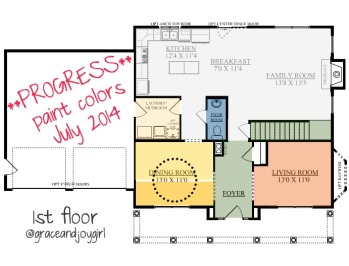 Floor Plan with paint colors, Windfresh White