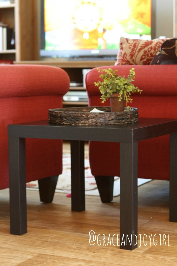Ikea Lack side table, black-brown